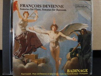 Badinage,Devienne-Flute&Bassoon.s,賓汀埃吉樂團,戴維恩尼-長笛與巴松管奏鳴曲,如新。