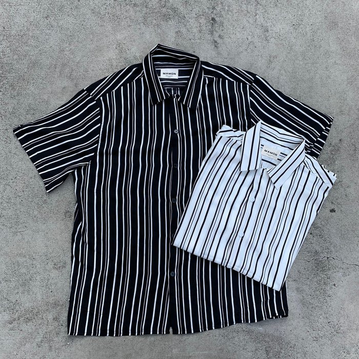 【inSAne】韓國購入 / 線條 / 襯衫 / 單一尺寸 / 黑色 & 白色