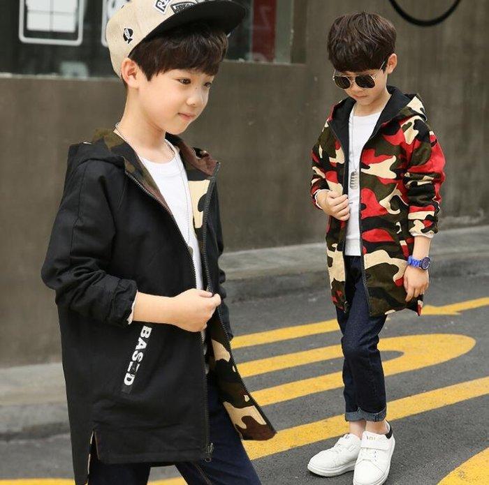 童裝 男童秋裝外套 新款中長款風衣 兒童裝男中大童雙面穿迷彩外套—莎芭