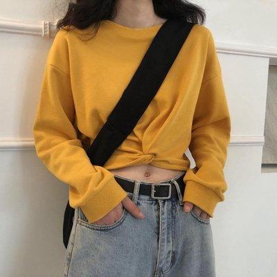促銷超火短款上衣女春秋高腰打結薄款外套潮學生露臍寬鬆上衣服 宜室