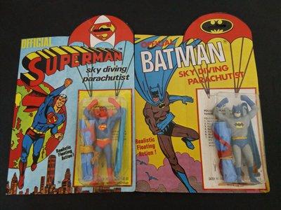 蝙蝠俠.超人降落傘玩具二個(橡皮筋糊掉)