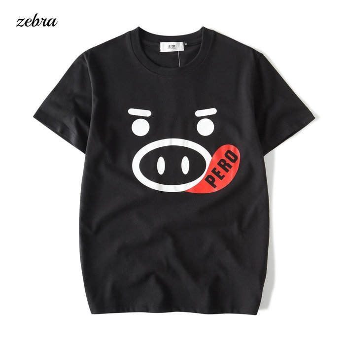 ZEBRA-【TBG9309】寬鬆 黑白 情侶款 Q版豬臉 表情印花 S/XL休閒短T 特價250元