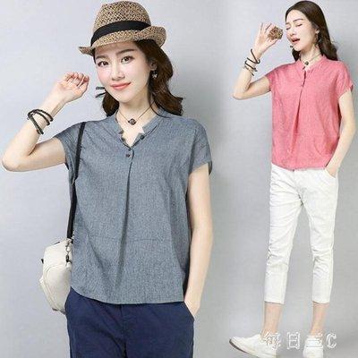 中大尺碼 棉麻上衣短袖t恤夏裝民族風新款大碼寬鬆亞麻襯衫 zm3368