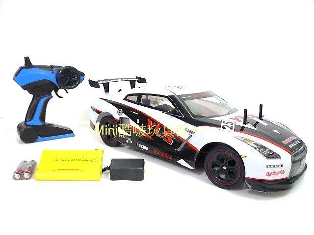 最新2.4G版 充電全配1/10 充電遙控車-跑車-GTR35外型 黑白