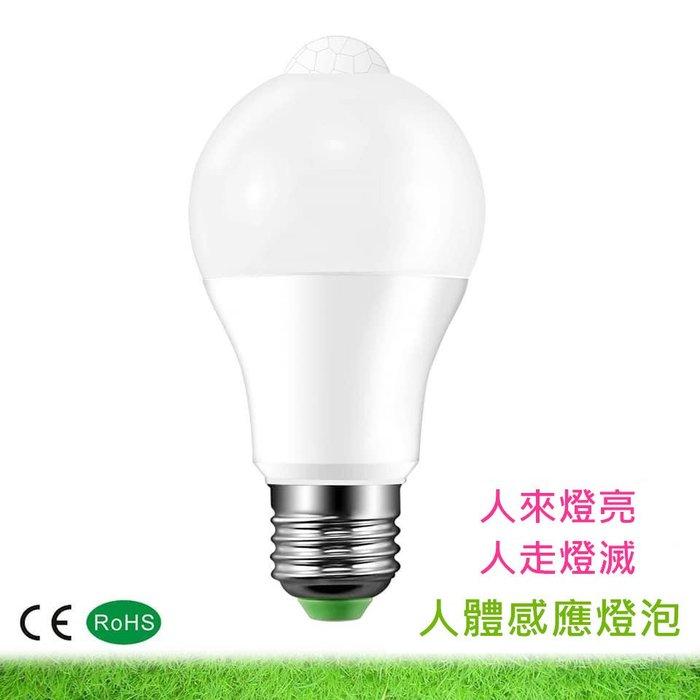 紅外線感應燈 12W E27 LED燈泡 人體感應防盜燈 樓梯間車庫節能燈泡