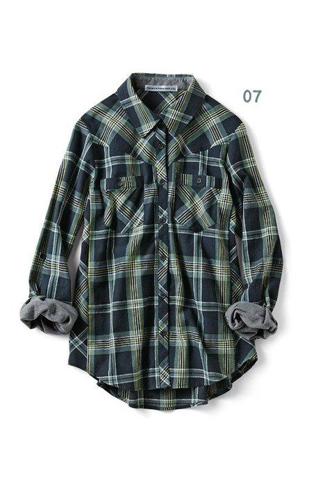 Blue black planet 夏裝 配色も絶妙なポイント 絕妙袖裏配色格紋襯衫 (現貨款特價)