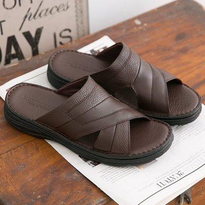 211 男款 荔枝紋牛皮 休閒氣墊拖鞋 台灣製造真皮拖鞋 MIT 大小尺碼