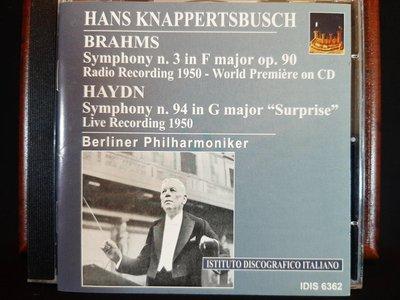 Knappertsbusch,Brahms,Haydn:Sym No.3,No.94,克納帕茲布許指揮演出布拉姆斯:第3號,海頓:第94號交響曲,如新。