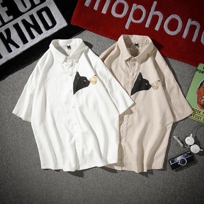 『亞麻襯衫』 夏季新款半袖襯衫男士寬鬆亞麻正韓印花潮男裝短袖襯衣
