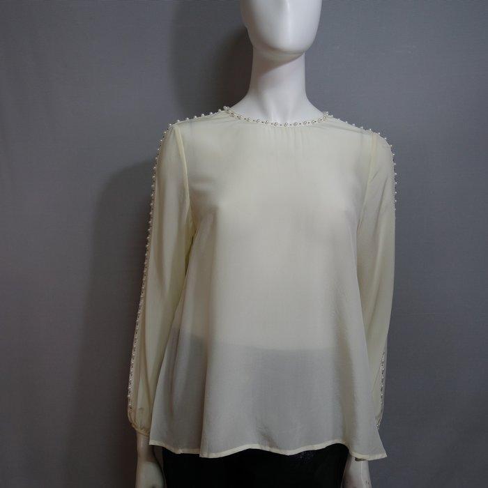A181 現貨 專櫃100%桑蠶絲拚接緞帶珍珠短款上衣