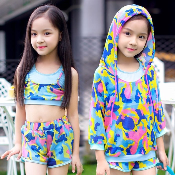 【小阿霏】兒童三件式泳衣 女童藍粉迷彩保守式比基尼罩衫泳裝 女孩防曬泳裝SW41