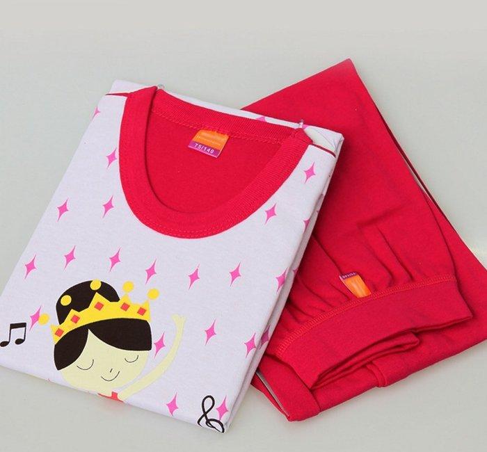 100%純棉 冷氣衫 女童皇冠跳舞女孩圓領套裝 睡衣 冷氣房 冷氣衫 居家服 110-170