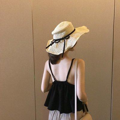 短版 上衣 衣服 衣著 正韓版韓版夏季短款V領露背上衣新款荷葉邊氣質抽繩黑色打底吊帶背心女8-16