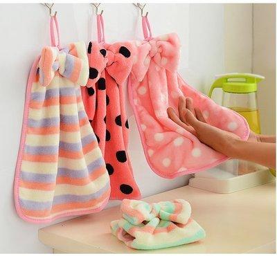 Color_me【H03】韓國珊瑚絨蝴蝶結掛式擦手巾 擦手巾掛式 可愛創意卡通兒童擦手巾 強水力超強不掉毛 廚房毛巾抹布