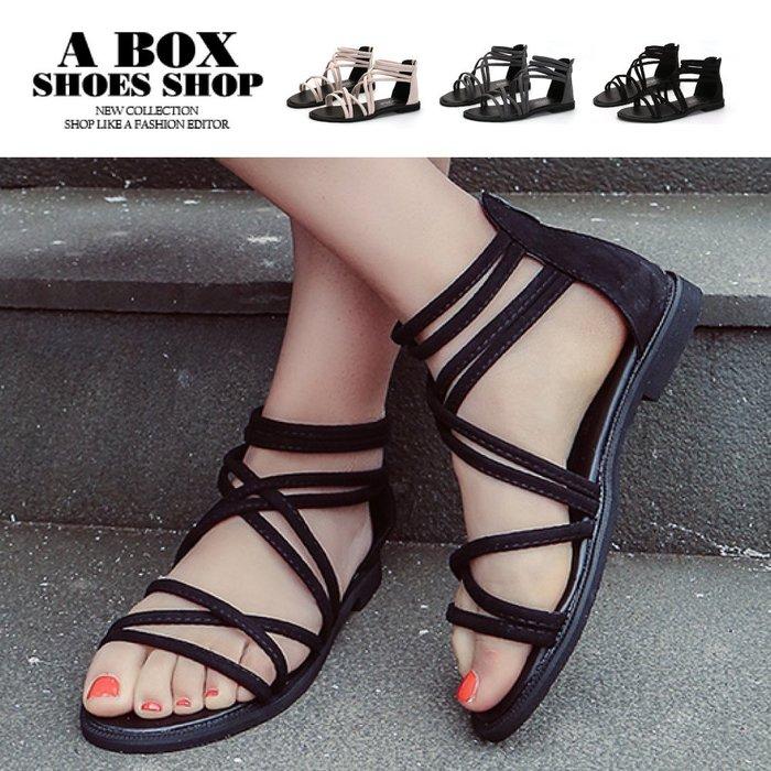 格子舖*【ASD118】1.5CM涼鞋 嚴選時尚性感羅馬風 高質感絨布材質 繞帶羅馬涼鞋 3色
