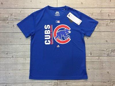 塞爾提克~免運 MLB Majestic 男生 吸濕排汗網布 短袖T恤 衣服 CUBS芝加哥 小熊隊(寶藍)熱身球衣