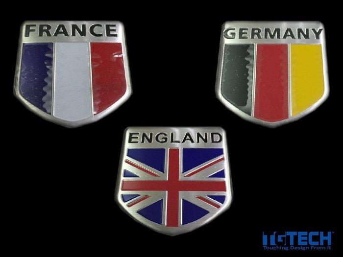 英國 德國 法國 國旗 造型銘板 銘版 車貼 mini Volkswagen Peugeot