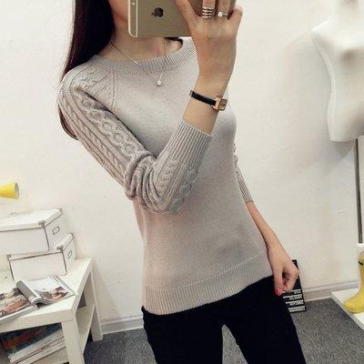 [151208-2]冬裝新款女裝長袖圓領套頭毛衣女針織衫短款新品打底衫外套厚