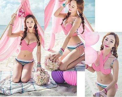 bikini泳衣 ☆王者之家☆ 粉色甜美交叉綁性感小胸爆乳鋼圈比基尼泳衣泳裝,直購價690元