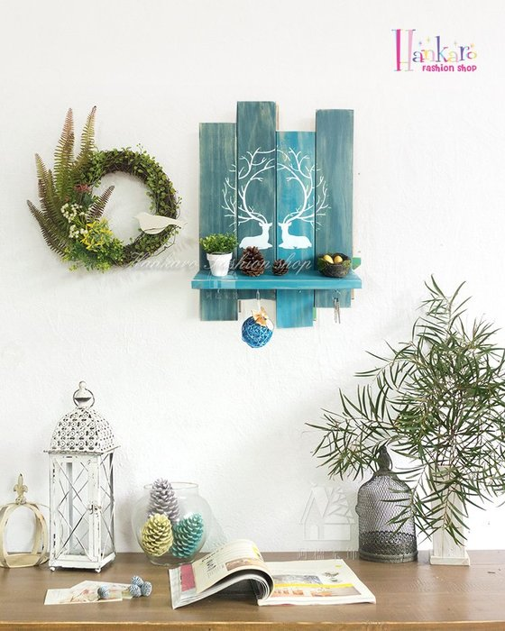 ☆[Hankaro]☆ 北歐風清新森林系木質牆壁掛勾掛飾(雙鹿)