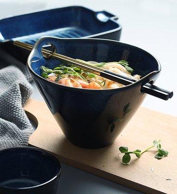 飯碗拉麵碗 日式陶瓷餐具 復古藍湯麵碗雙耳甜品盅布丁焗飯烤碗水果沙拉碗_☆找好物FINDGOODS ☆