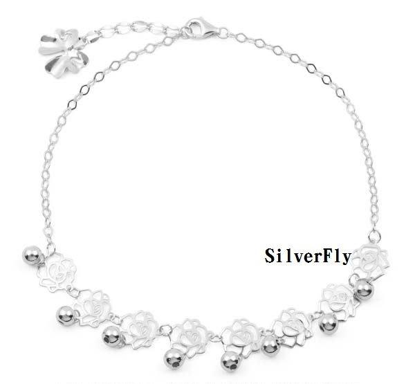 玫瑰純銀時尚腳鍊《 SilverFly銀火蟲銀飾 》