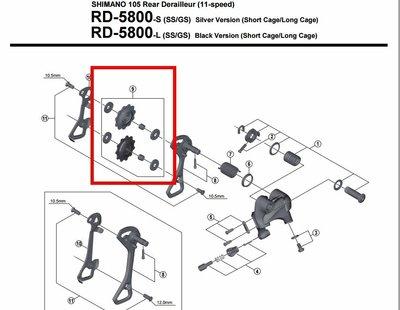 補修 SHIMANO 105 5800 後變速器 導輪 後變導輪 長腿後變導輪 Y5YE98090 【跑的快】