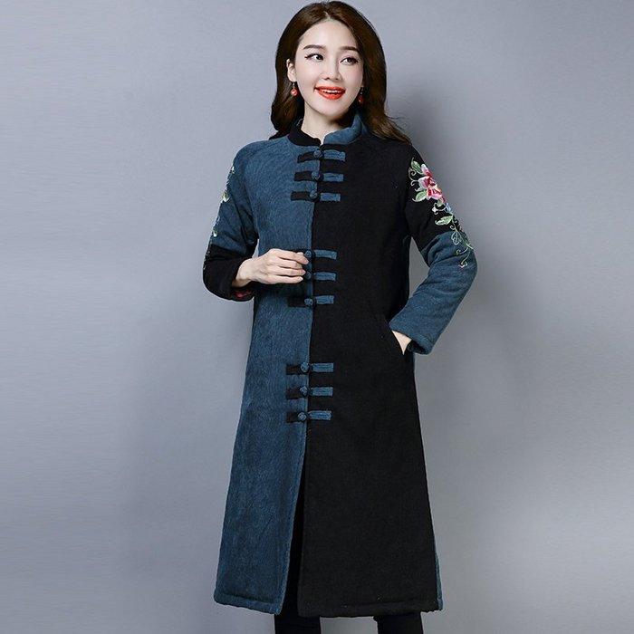優品庫~民族風女裝秋冬季燈蕊絨中長款外套棉衣中式復古中國風加厚棉襖女