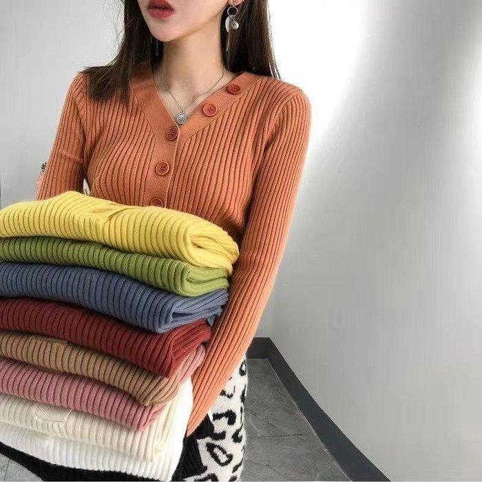 毛衣 針織衫 V領毛衣 糖果色親膚排扣針織V領毛衣 029721
