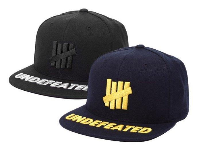 【超搶手】 全新正品2015 最新UNDEFEATED 5 STRIKE SNAPBACK 刺繡柵欄 棒球帽 黑色 深藍