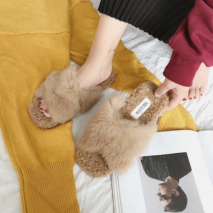 韓國正韓 超低價 顯瘦 性感 歐美 甜美 日系毛毛鞋女春秋毛毛交叉帶平跟拖鞋防滑舒適外穿方頭拖鞋女