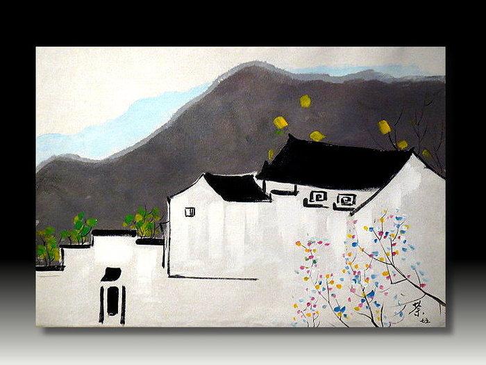 【 金王記拍寶網 】U837  中國現代著名油畫家 吳冠中 款 手繪油畫一張 江南水鄉~ 罕見稀少 藝術無價~