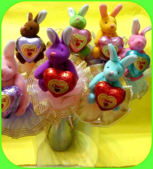 粉彩兔巧克力花棒~100支免運~喜悅時光 結婚禮小物 二次進場 送客禮 周年慶 生日禮物 聖誕節~畢業