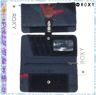 ☆POLLY媽☆歐美ROXY玫紅花卉藍綠棕梠葉圖案深藍色帆布/黑色麂皮長夾