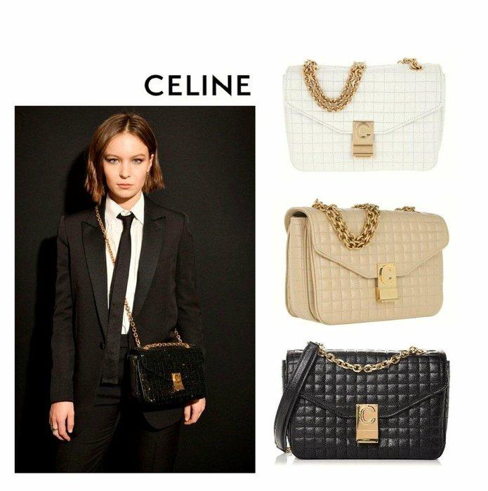 CELINE ► C bag ( size / M )  方菱格紋 真皮 金屬金鍊 小肩背包 斜背包 手拿包 |100%全新真品|  特價!