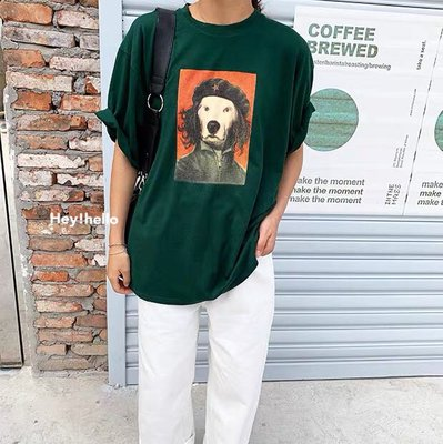 (現貨)韓國春夏寬鬆狗頭印花t恤