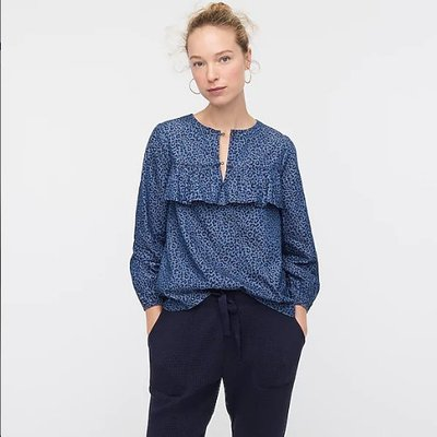 J. Crew Ruffle-front top in leopard chambray 2/21止