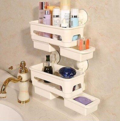 哆啦本鋪 置物架 浴室置物架洗漱用品收納架吸壁式洗手間角架衛生間吸盤壁掛D655