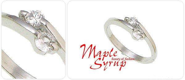 ☆情人節 甜蜜的禮物 兩心相依 迷你鋯石銀色戒指(96-59-1)*請先確定戒圍再下標