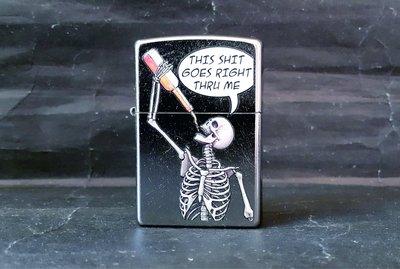 ONE*$1~*美系*ZIPPO*Drinking Skeleton《喝酒骷髏》街頭風鍍鉻*彩色圖案加工編號:29613