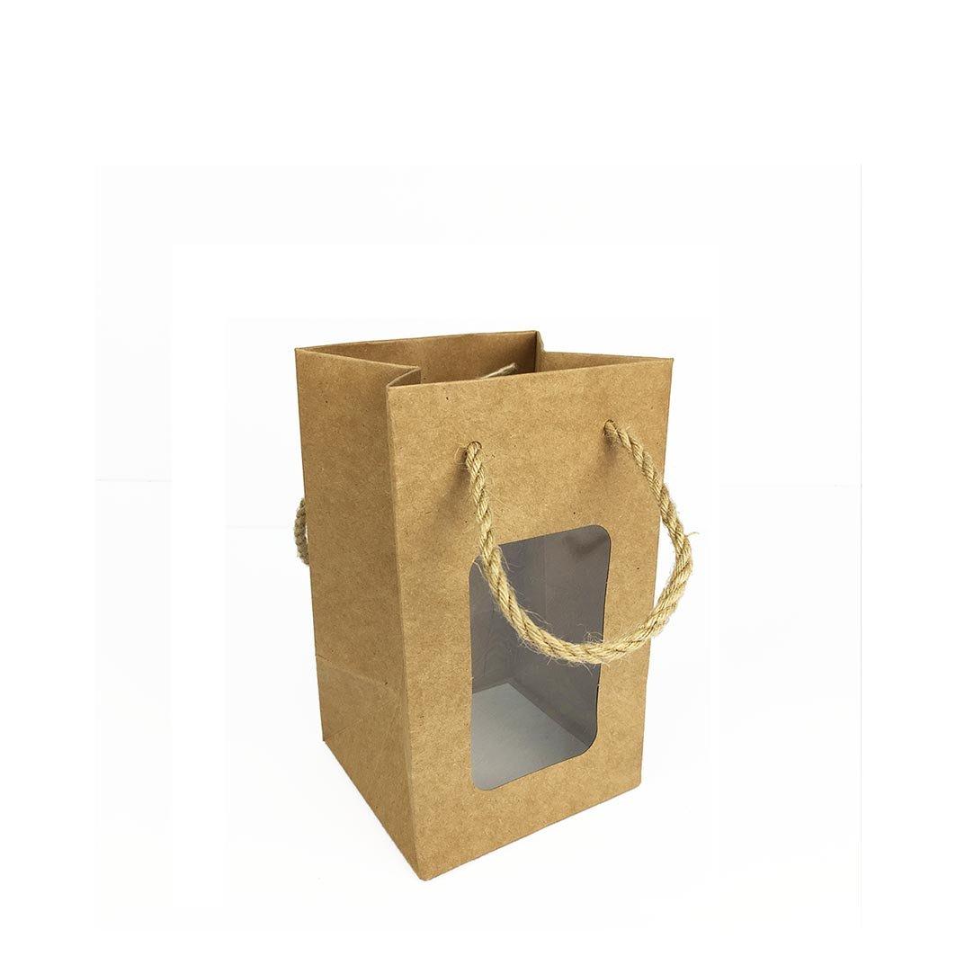 ≡☆包裝家專賣店☆≡包裝用品 手提鏤空開窗紙袋  手提紙袋 禮品袋 禮物袋 麻繩杯袋 寬11x高18x側10 cm20入