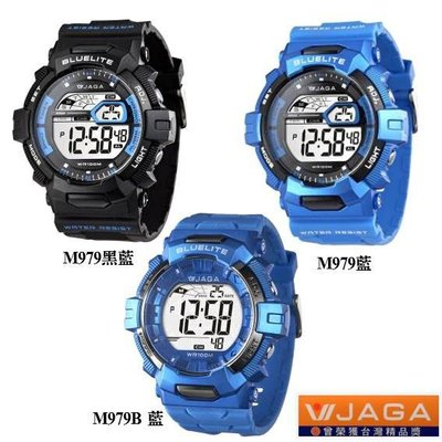 【JAGA】冷光電子錶 大字幕 酷似 G-SHOCK 運動錶 軍錶 學生必備【特價↘420】M979黑藍