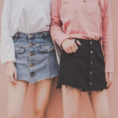 店長嚴選2019春裝港風防走光牛仔裙褲女黑色高腰單排扣顯瘦假兩件闊腿短褲