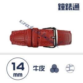 【鐘錶通】C1.08KW《繽紛系列》鱷魚壓紋-14mm 火紅┝手錶錶帶/高質感/牛皮錶帶┥