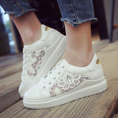 大碼女鞋新款韓版淺口蕾絲小白鞋女夏透氣網布百搭系帶平底學生網鞋女有40碼