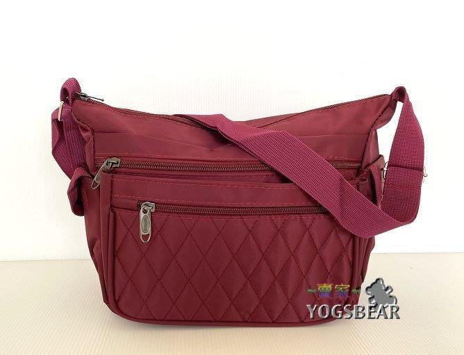 【YOGSBEAR】C 多層格 側背包 斜背包 淑女包 拉鍊包 肩背包 1556 暗紅