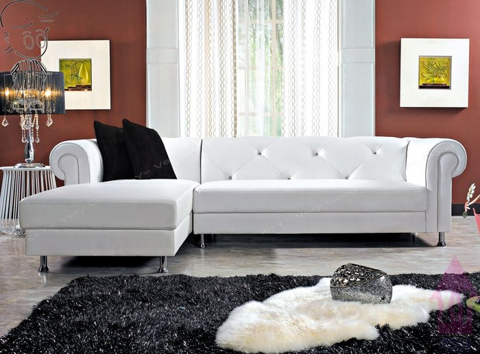 【X+Y時尚精品傢俱】現代沙發系列-艾朵拉 L型白色透氣皮沙發.附抱枕.摩登家具