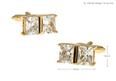 【MEN THE SHOP歐洲直送】  白色水晶 電鍍金色 袖扣 袖釘 330189