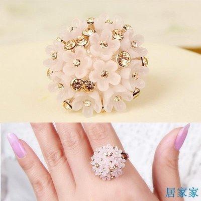 居家家 韓國飾品時尚水鉆花團食指戒指日韓寬版個性裝飾指環女大碼潮甜美