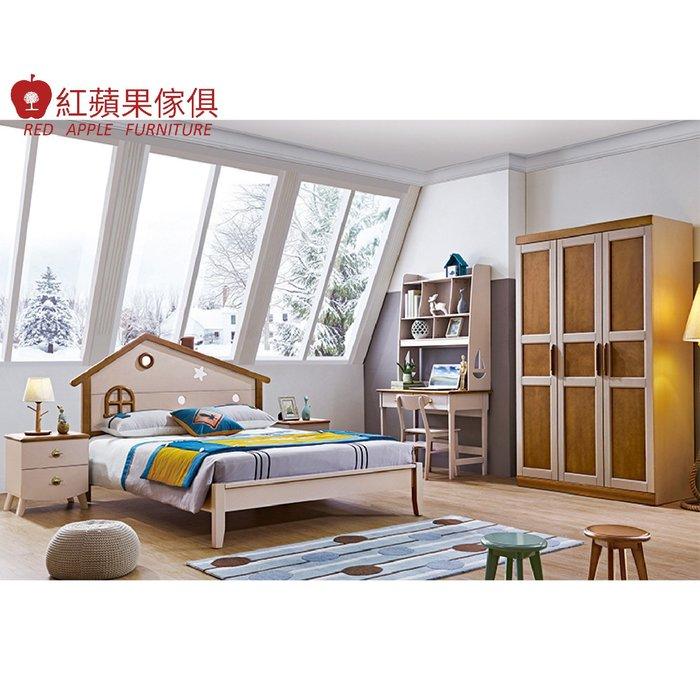 [紅蘋果傢俱] LOD-615 5尺床(另售床頭櫃 三門衣櫃 書桌) 實木床 兒童床 臥室組